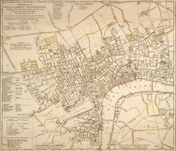 A New PLAN of the CITY and LIBERTY of WESTMINSTER, Exhibiting all the New Streets & Roads, with the Residences of the Principal Nobility, Public Offices, &c. Not extant in any other Plan.